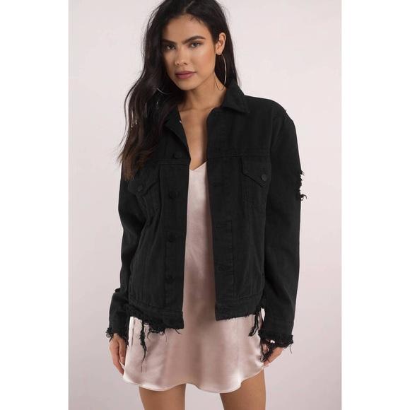 d7fc88b9d7 Oversized distressed black denim jacket
